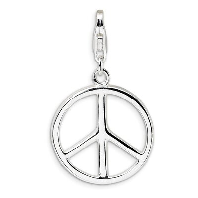 Polished Peace Sign with Lobster Clasp Charm