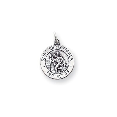 Jewelryweb Sterling Silver Saint Christopher Two Circle Medal Charm