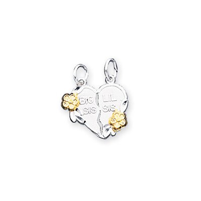 Jewelryweb Sterling Silver Two - Tone Big Sis Lil Sis 2-Piece Break Apart Heart Charm