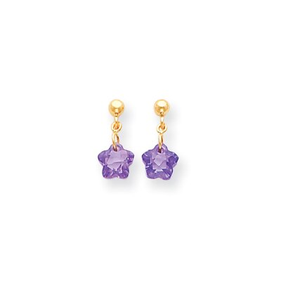 14k Flower Purple CZ Childrens Earrings