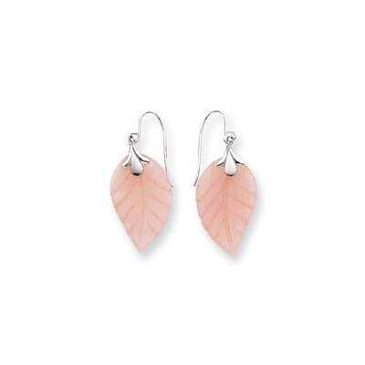 14k White Gold Rose Quartz Leaf Wire Earrings
