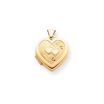 14k Satin Polished Diamond-cut Heart-Shaped Hearts Locket