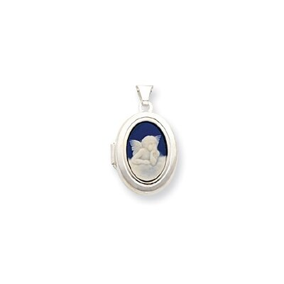 Jewelryweb Sterling Silver Angel Cameo 21mm 2-Frame Oval Locket