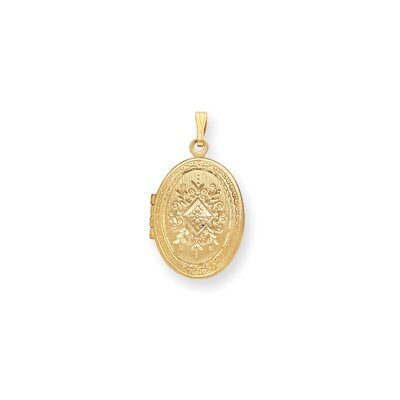 24in Gold-plated Engraved Medium Oval Locket Necklace