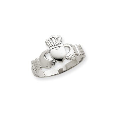 Jewelryweb 14k White Gold Ladies Claddagh Ring
