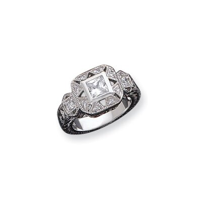 Sterling Silver CZ Antique Style Ring