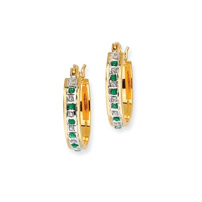 Oval Cut Emerald Hoop Earrings