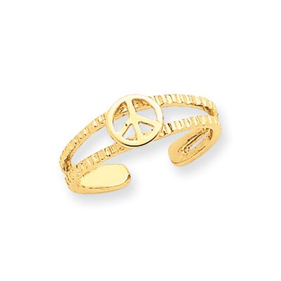 14k Yellow Gold Diamond Cut Peace Sign Toe Ring