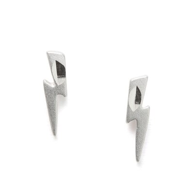 Jewelryweb Sterling Silver Lightning Bolt Post Earrings