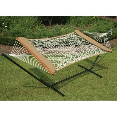Castaway Hammocks Single Cotton Rope Soft Sides Hammock & Stand