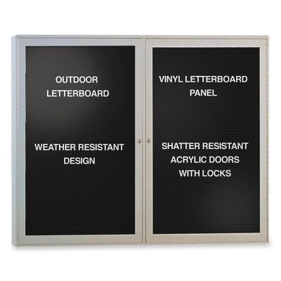 Ghent Outdoor Enclosed Letterboards,2-Door,4'x3',Aluminum Frame