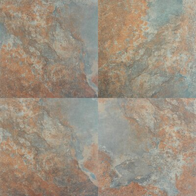 "MS International Tulsa 20"" x 20"" Glazed Porcelain Tile in Rust"