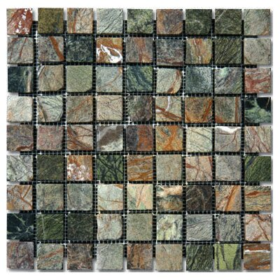 "MS International 12"" x 12"" Tumbled Marble Mosaic in Rain Forest"