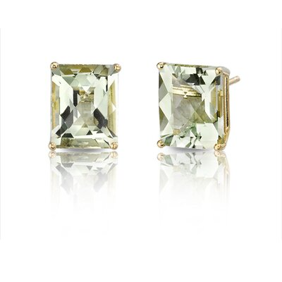 Oravo 14 Karat Yellow Gold 5.75 carats Radiant Checkerboard Cut Gemstone Diamond Earrings