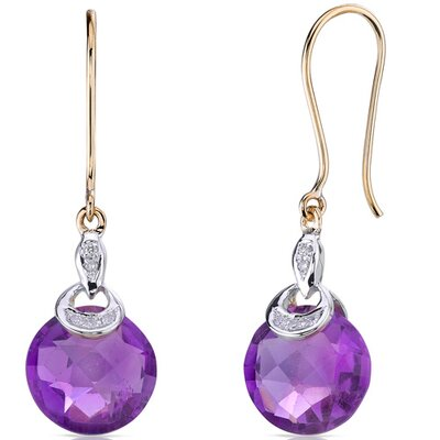 Oravo 10 Karat Two Tone Gold 6.50 carat Round Checkerboard Cut Amethyst Diamond Earrings (0.04 carat Stone)