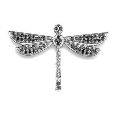 Oravo Sparkling Fantasy: Sterling Silver Dragonfly Brooch with Black and White Cubic Zirconia