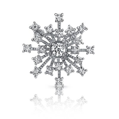 Oravo Enchanted Style: Sterling Silver Tiffany Inspired Snowflake White Cubic Zirconia Brooch