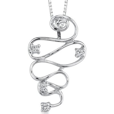 Oravo Sparkling Swirls: Sterling Silver Designer Inspired Bridal Style Swirl Pendant Necklace with Cubic Zirconia