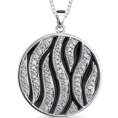 Stellar Beauty: Sterling Silver Celebrity Style Medallion Pendant Necklace with Cubic Zirconia