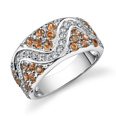 Oravo Pure Allure Sterling Silver Champagne and White Cubic Zirconia Cocktail Ring