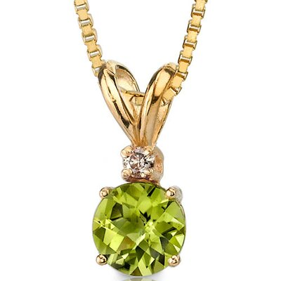 14 Karat Yellow Gold 1.00 Carats Round Checkerboard Cut Peridot Diamond Pendant