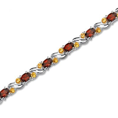 Sterling Silver 9.50 Carats Total Weight Oval Cut Garnet and Round Cut Citrine Tennis Style ...
