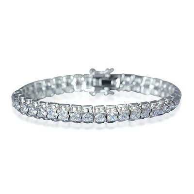 Oravo Bold and Beautiful Round Cut Gemstone Tennis Bracelet in Sterling Silver