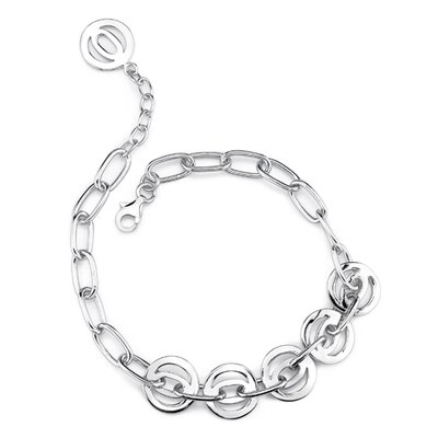 Celebrated Style Sterling Silver Designer Inspired Multi-Link Chain Bracelet