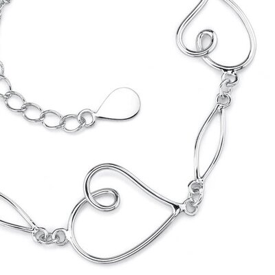 Oravo Romantic Elegance Sterling Silver Designer Inspired Double-Rolo-Chain Bracelet with Heart Charms
