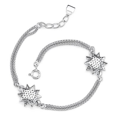 Bold and Striking Sterling Silver Designer Inspired Double Cable Chain Bracelet with Star Charms