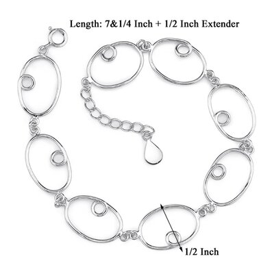 Oravo Cool Sophistication Sterling Silver Designer Inspired Large Oval Curl Link Chain Bracelet