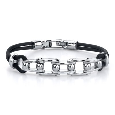 Oravo Youthful Fashion Stainless Steel Bicycle Chain-style Dual Rubber Cord Link Bracelet for Men