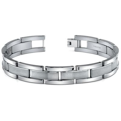 Tungsten Matte and High Polish Link Bracelet for Men