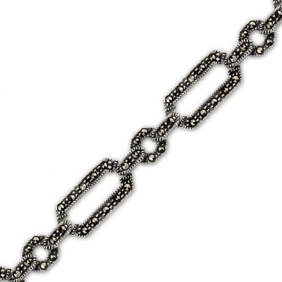 Linked Forever Sterling Silver Marcasite 71 4 inches Multilink Bracelet
