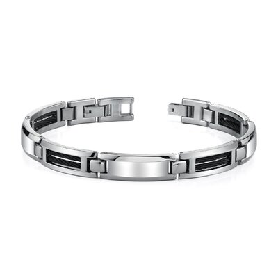 Mens ID Style Stainless Steel Bracelet with Black Cable