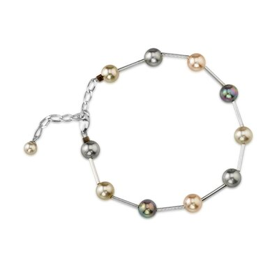 6mm Multi Color Round Majorca Pearl Bracelet