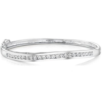 Everlastingly Beautiful Sterling Silver Channel-Set Cubic Zirconia Hinged Bangle Bracelet