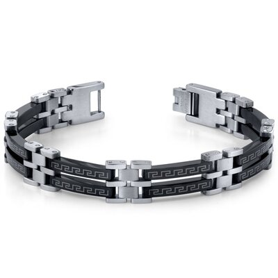 Urban Class Mens Black and Silver-Tone Stainless Steel Greek Key Bracelet