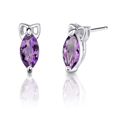 Oravo 1.10 Grams 1.00 Carats Marquise Shape Earrings in Sterling Silver
