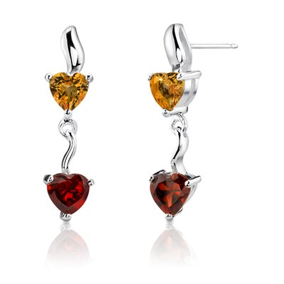 Oravo Heart Shape Garnet and Citrine Earrings in Sterling Silver