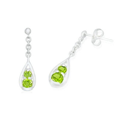 Oravo Round Cut Peridot Dangling Earrings Sterling Silver