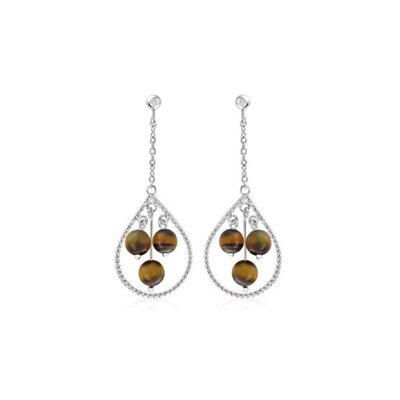 Oravo Round Tigereye Bead Party Loop Earrings Sterling Silver
