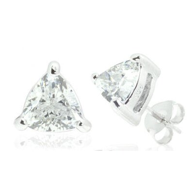 Oravo Trillion Cut White Cz Stud Earrings in Sterling Silver