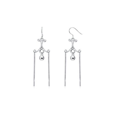 Oravo Dangling Ball and Chain Chandelier Earrings in Sterling Silver