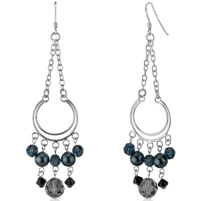 Oravo Caught in the Rain s and Pearls Hoop Dangle Earrings in Sterling Silver with Swarovski Elements