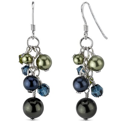 Blueberry Festival s and Pearls Drop Earrings in Sterling Silver with Swarovski Elements