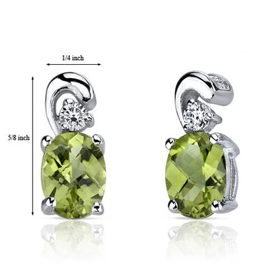 Oravo Sleek and Radiant 1.50 Carats Peridot Earrings in Sterling Silver