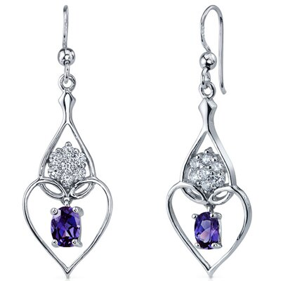 Illuminating Hearts 2.00 Carats Alexandrite Oval Cut Dangle Cubic Zirconia Earrings in Sterling ...