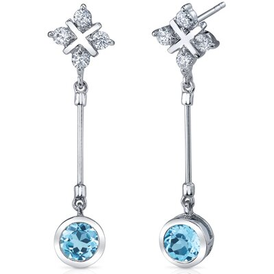 Seductive Allure 2.00 Carats Swiss Blue Topaz Round Cut Dangle Cubic Zirconia Earrings in ...