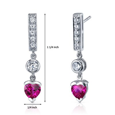 Oravo Exotic Love 2.00 Carats Ruby Heart Shape Dangle Cubic Zirconia Earrings in Sterling Silver